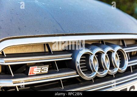Audi S3 badge, Audi S3, Audi car, Audi cars, Audi sports car, S3 badge, Audi logo, S3, Audi symbol, S3 Audi, Audi S3 front grill, Audi, car, cars, - Stock Photo