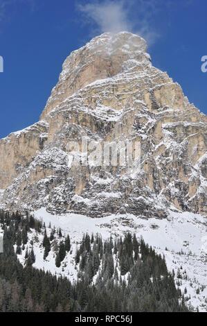 Corvara in Badia. Trentino Alto Adige. Italy. Sassongher mountain. - Stock Photo