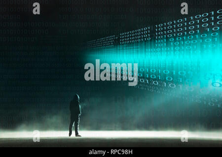 A cyber crime concept of a lone hooded figure looking at glowing numbers on a dark misty night.