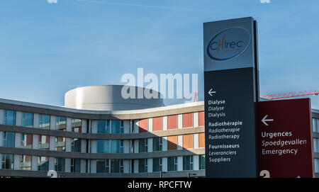 Auderghem, Brussels / Belgium - 02 18 2019: Facade and direction signs at the entrance of the CHIREC hospital - Stock Photo