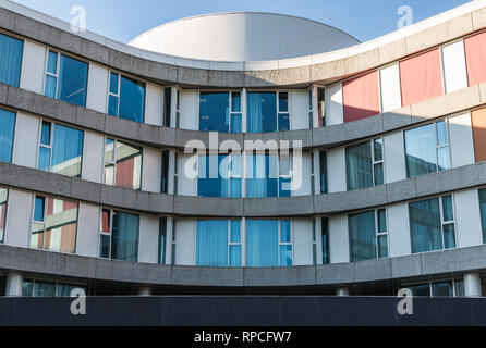 Auderghem, Brussels / Belgium - 02 18 2019: Round shaped facade of the new CHIREC hospital - Stock Photo