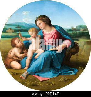 Raphael, The Alba Madonna, c. 1510, portrait painting - Stock Photo