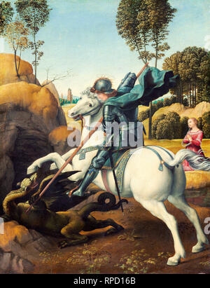Raphael, Saint George and the Dragon, c. 1506, oil on panel, painting - Stock Photo
