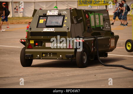 military airfield, aircraft air start unit - Stock Photo