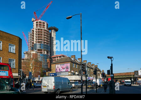 The new City North residential development under construction, viewed from Seven Sisters Road, Finsbury Park, London London UK - Stock Photo
