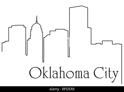 Oklahoma city USA skyline silhouette vector illustration Stock