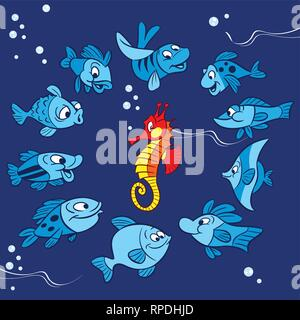 Pattern with cartoon fish and bright red seahorse. Illustration made on blue background on separate layers. - Stock Photo