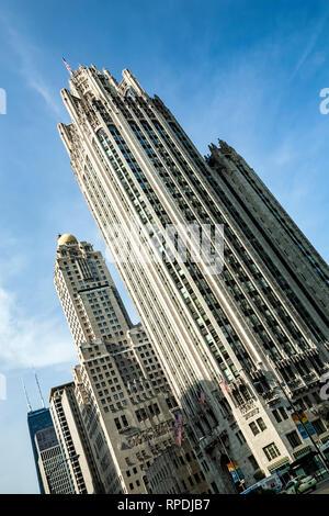 Chicago Tribune Tower, Chicago, Illinois USA - Stock Photo