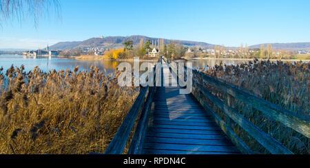 Bridge to the island of Werd near Stein am Rhein in Switzerland - Stock Photo