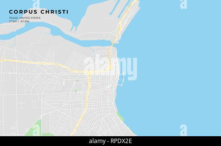 Printable streetmap of Corpus Christi including highways, major roads, minor roads and bigger railways. The name of the city and the geographic data a - Stock Photo