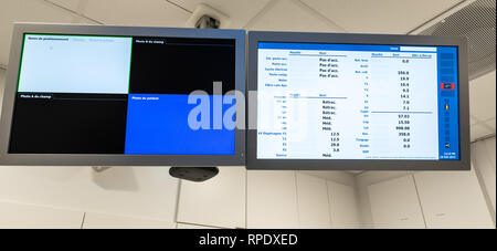 Auderghem, Brussels / Belgium - 02 18 2019: Control panel computer screens indicating parameters for cancer therapy medical equipment - Stock Photo