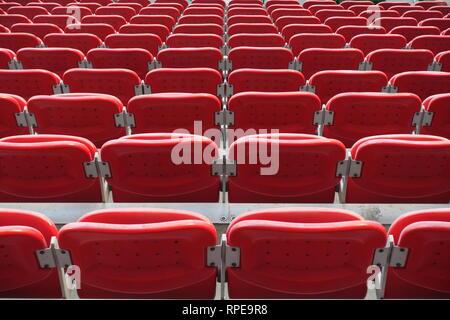 Series of stadium chairs, San Siro, AC Milan Staduim in Milan, Italy - Stock Photo
