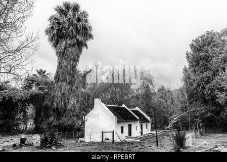 WUPPERTHAL, SOUTH AFRICA, AUGUST 27, 2018: Historic houses in Wupperthal in the Cederberg Mountains of the Western Cape Province. Monochrome - Stock Photo