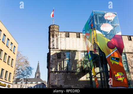 Cologne, Germany - February 16, 2019: historical Guerzenich in the old town of Cologne with modern glass elevator. Today the historical building is a  - Stock Photo