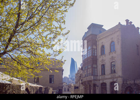 Baku, the historical center of the city. The ancient buildings - Stock Photo
