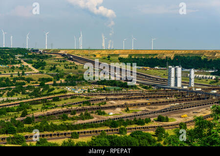 GARZWEILER, GERMANY - 28 May 2017: Brown coal open pit landscape with recycling raw materials in Garzweiler mine Germany global warming