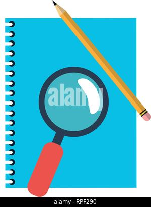 address book and magnifying glass with pencil Stock Photo