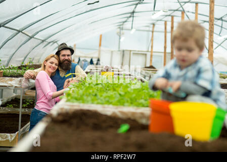 family in greenhouse. happy family work in greenhouse. greenhouse family business. family in greenhouse with small child gardener. it is my favorite - Stock Photo