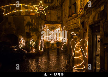 RONCIGLIONE - Christmas decorations in the medieval center. - Stock Photo