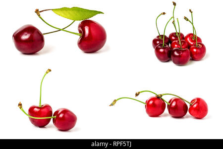 Red sweet cherry isolated on white background. Collection or set - Stock Photo