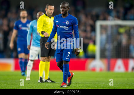 London, UK. 21st Feb, 2019. Ngolo Kanté of Chelsea during the UEFA Europa League round of 32 match between Chelsea and Malmo FF at Stamford Bridge, London, England on 21 February 2019. Photo by Salvio Calabrese. Editorial use only, license required for commercial use. No use in betting, games or a single club/league/player publications. Credit: UK Sports Pics Ltd/Alamy Live News - Stock Photo