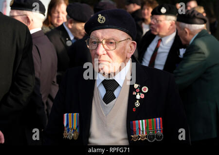 Sheffield, UK. 22nd Feb, 2019. Veteran at memorial service prior to military aircraft from Britain and the United States performing a flypast in memory of the crew of the 'Mi Amigo' B17 Flying Fortress which crashed in Endcliffe Park 75 years ago whilst avoiding a group of children playing in the park. One of these children, Tony Foulds, has subsequently tended the memorial every day for decades. The flypast was arranged by Dan Walker and the BBC after he met Tony Foulds in the park. Credit: Jeremy Abrahams/Alamy Live News - Stock Photo