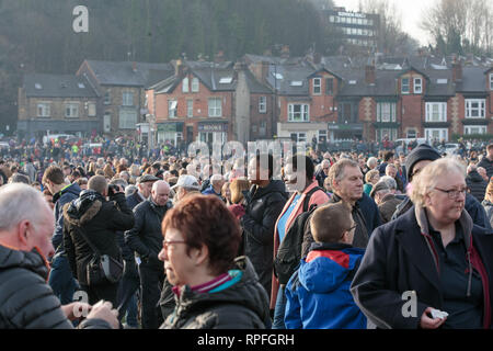 Mi Amigo 75th anniversary, Endcliffe Park, Sheffield, Yorkshire, England. February 22nd 2019. Thousands of people gather in the city's Endcliffe Park to honour the 10 man crew of the B-17 flying fortress, 'Mi Amigo', which crashed there 75 years ago. The plane was hit during a bombing raid over Denmark. It limped back to England, but crashed killing the entire crew, when the pilot deliberately ditched in a wooded area beside the park in order to avoid children who were playing there. A service was held, followed by a fly-past of British and  US aircraft. Copyright Ian Wray/Alamy Live news - Stock Photo