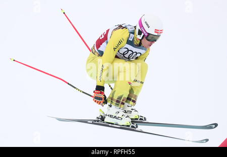 CHELYABINSK REGION, RUSSIA - FEBRUARY 22, 2019: Freestyle skier Cornel Renn of Germany competes in a qualification event for the men's ski cross race as part of the 2018/19 FIS Freestyle Skiing World Cup at the Solnechnaya Dolina [Sun Valley] alpine skiing complex in the city of Miass. Donat Sorokin/TASS - Stock Photo
