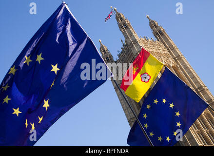London Westminster, UK. 21st Feb, 2019. Anti Brexit demonstrators outside the Palace of Westmister in central London, England UK. Flying both European Union - EU and Union Jack flags. Credit: BRIAN HARRIS/Alamy Live News - Stock Photo