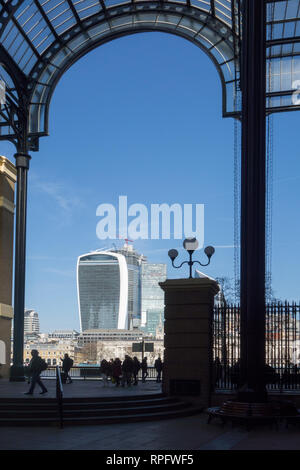 View of the city of London from Hay's galleria shopping arcade on the south bank of the river Thames London England - Stock Photo