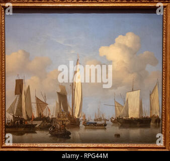 ships in the roads by painter Willem van de Velde ll - Stock Photo