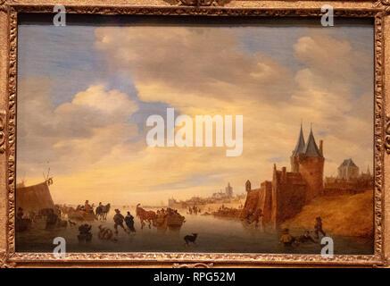 winter landscape at arnhem by painter Salomon van Ruysdael - Stock Photo