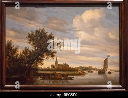 river view with church and ferry by painter Salomon van Ruysdael - Stock Photo
