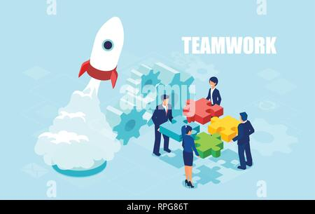 Vector of business people holding puzzle pieces. Teamwork in startup launch concept banner. - Stock Photo