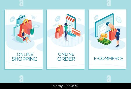 Online shopping concept. Vector banner, mobile app templates of women buying clothes in the internet - Stock Photo