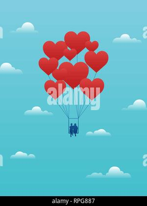 Vector valentine day card with couple on swing carried away by red heart balloons. - Stock Photo