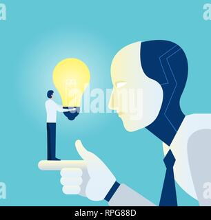 Automatization new technology implementation concept. Vector of a robot learning from a businessman with bright idea light bulb Stock Photo