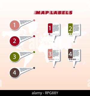 Collection colored pointers or pins on world map. Vector illustration - Stock Photo