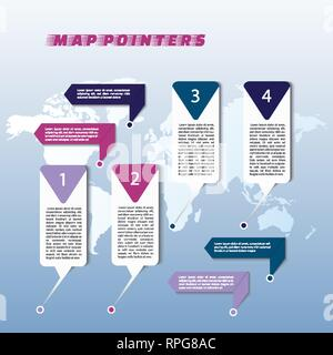 Collection of colorful map markers on world map - Stock Photo