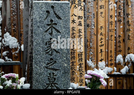 Snow-covered graves and votive tablet called Toba in Yanaka Cemetery, Nippori, Tokyo, Japan Friday February 14th 2014 - Stock Photo