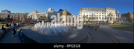 Piccadilly Gardens Manchester, panorama, fountains and architecture, wide image, Lancashire, England, UK - Stock Photo