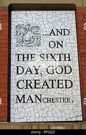 On the sixth day, God Created Manchester, Afflecks palace, Tib St, Manchester, Lancashire, England, UK, M4 1PW - Stock Photo