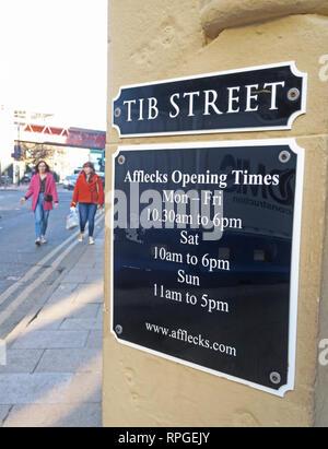 Tib Street, Afflecks Palace entrance, opening hours, Manchester Northern Quarter, 52 Church St, Manchester, UK, M4 1PW - Stock Photo