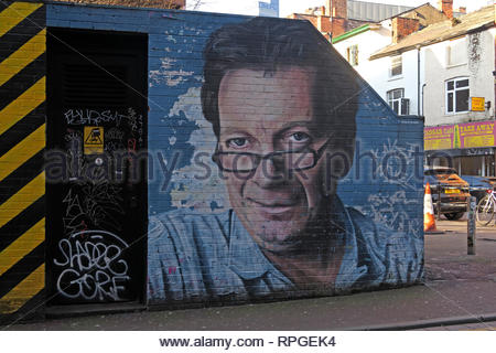 Tony Wilson (Anthony H Wilson) mural / artwork, Factory Records owner and Granada broadcaster, Tib St Manchester, UK - Stock Photo