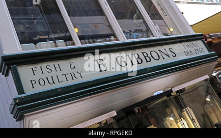 Fish and Poultry office, E. Gibbons, at Manchester Craft Village, Oak street, North West England, UK, M4 5JD - Stock Photo