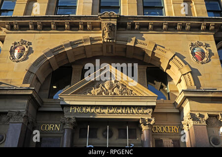 Manchester Corn and Grocery Exchange, Hanging Ditch, Central Manchester, City Centre, North West England, UK - Stock Photo