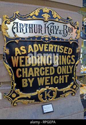 Arthur Kay & Bros, Jewellers Shop, 2 New Market, Manchester, North west england, UK,  M1 1PT - Stock Photo