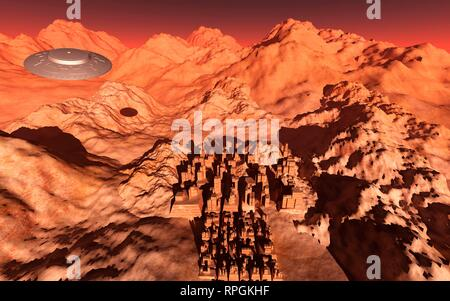 UFO Flying Above The Ruins Of An Ancient Martian City. - Stock Photo
