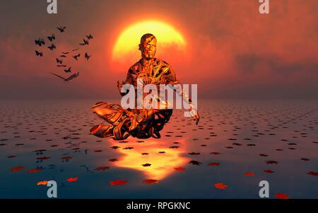 Male Figure Levitating in an Alternate State, While Practicing Transcendental Meditation. - Stock Photo