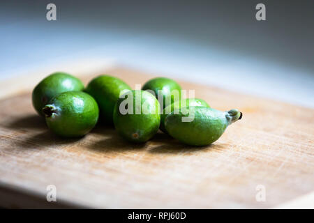 Fresh picked pineapple guava from California. - Stock Photo